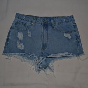 Unif mid/high waisted blue jean distressed shorts